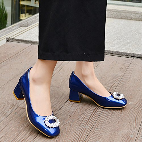 Size Comfy Women's US Stud Blue Dress Chunky Rhinestone Heels B On Pumps M Mid Shoes Slip 12 Odetina qEOfU