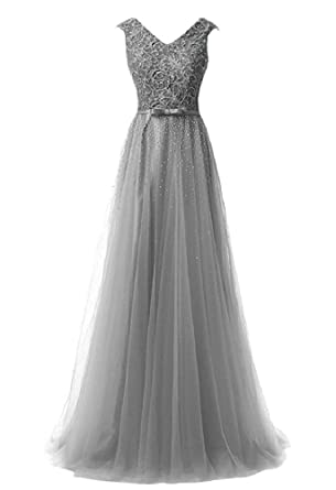 Baijinbai Elegant Womens V-neck Beaded Prom Gown Tulle Bridesmaid Evening Dresses Gray UK26