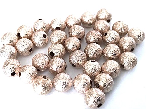 100 pcs Spacer Glitter Beads Round Brass 6mm Bead Jewelry Making Rose Gold ()