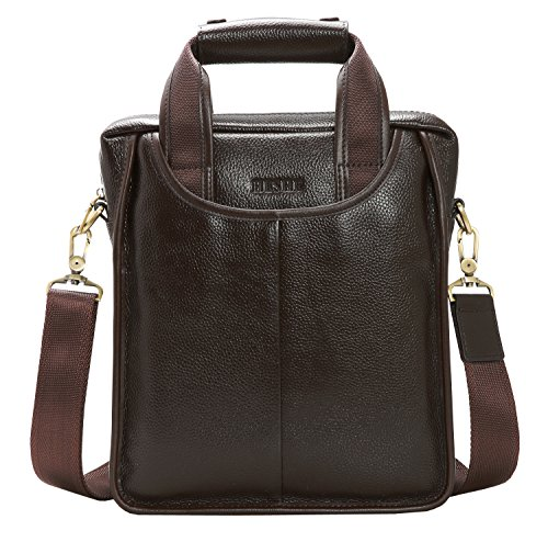 On Clearance Heshe Men's Vintage Leather Messenger Bag Briefcase Handbag Small Shoulder Bags