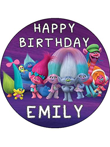 Trolls 75 Round Personalised Birthday Cake Topper Printed On Icing ICING Amazoncouk Grocery
