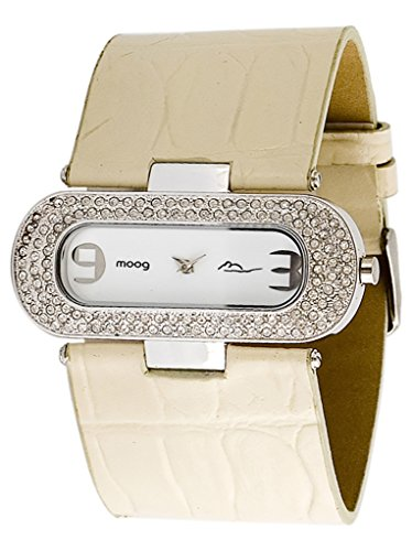 Moog Paris - Smart - Women's Watch with white dial, white strap in Genuine calf leather, made in France - M44082-010