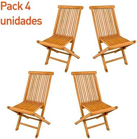 Pack 4 sillas jardín teca plegable - Portes Gratis: Amazon.es: Jardín