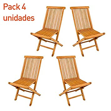 Pack 4 sillas jardín teca plegable - Portes Gratis: Amazon ...