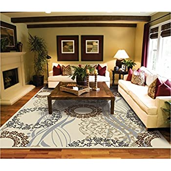 Amazon.com: Modern Rugs For Living Room Cream Rug 5 by 8 rug ...