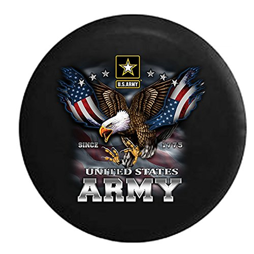 United States Army USA Screaming Eagle Military Spare Tire Cover Black 32 in ()