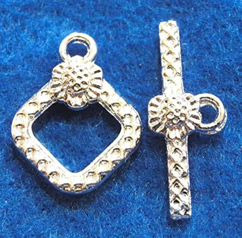 - 10Sets Silver-Plated Square Flower Toggle Clasps Connectors Tibetan Hooks C280