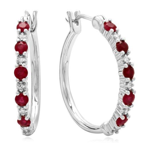 Sterling Silver Round Ruby & White Diamond Ladies Fine Dainty Hoop Earrings -