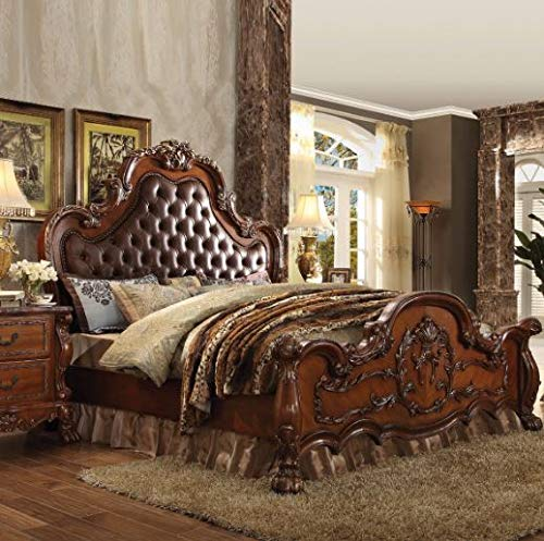 ACME Dresden Cherry Oak Eastern King Bed (Set Furniture Bedroom Poster)