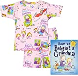 """""""How to Babysit a Grandma"""" BOOKS TO BED - Toddler/Girls SHORT-JOHN PAJAMAS and NEW YORK TIMES BEST SELLING HARDBACK BOOK - PERFECT COMBINATION for a Bedtime Story or UNIQUE GIFT Set (4)"""