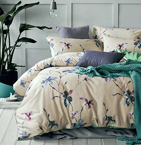 Modern Watercolor Flowers Print Duvet Quilt Cover 3pc Set Lilac Orchid Magnolia Blossom Leaf Branches Cotton Sateen 300tc Luxury Floral Bedding (King, Beige) - Floral Vintage Pillow Sham