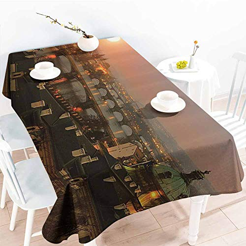 Deco Collection Buffet Displays - Homrkey Elegance Engineered Tablecloth European Cityscape Decor Collection Aerial Scenery on Prague Bridges at Sunset Gothic Medieval Buildings European Deco Multi Picnic W52 xL70