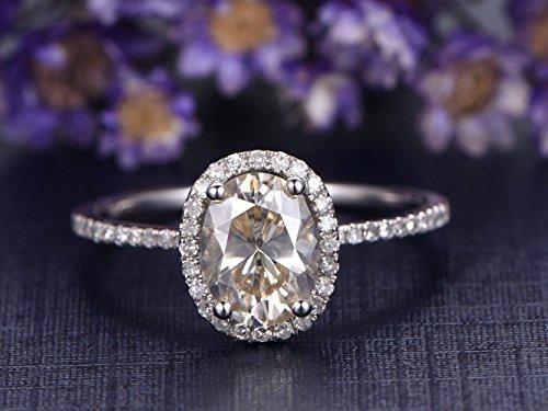 6x8mm Oval Cut Moissanite Engagement Ring Gemstone,Halo Style SI I-J Diamond Band 14k White Gold Wedding Promise (Antique Style Platinum Engagement Ring)