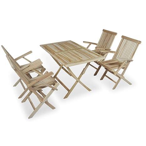 Tidyard- 5-TLG. Juego de Mesa y 4 sillas Plegables de Madera ...
