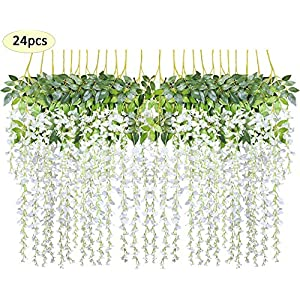 Together-life 24 Pack Artificial Wisteria Vine Rattan Hanging Garland Silk Flowers String for Wedding Events, Garden Decor, Party Decoration, 3.6 Feet, White 53