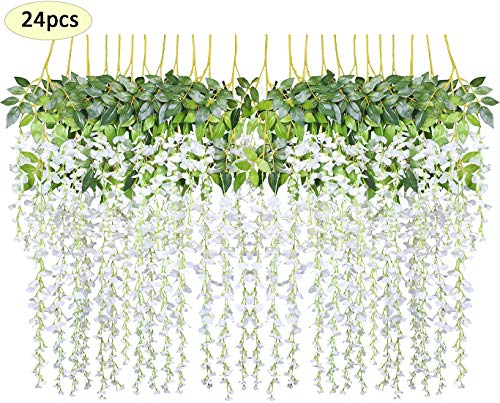 - Together-life 24 Pack Artificial Wisteria Vine Rattan Hanging Garland Silk Flowers String for Wedding Events, Garden Decor, Party Decoration, 3.6 Feet, White