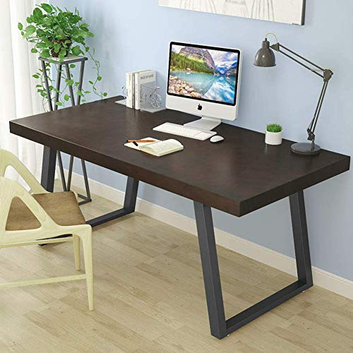 "Tribesigns 55"" Rustic Solid Wood Computer Desk in Dark Cherry, Vintage Industrial Home Office Desk Features Heavy-Duty Metal Base Works As Writing Desk or Study Table (Dark Cherry)"