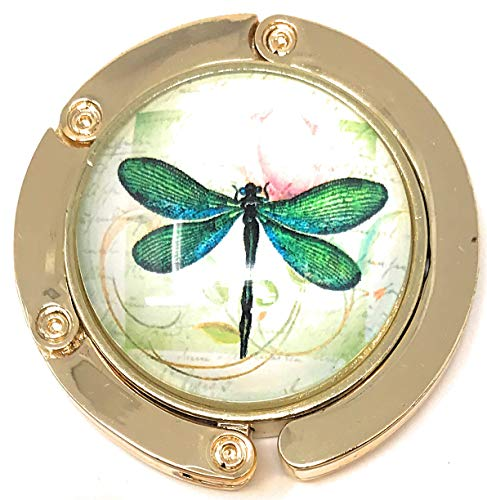 Arts Brass Polished (Value Arts Green Dragonfly Folding Purse Hanger, Polished Brass and Glass)