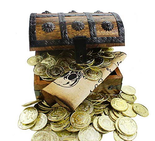 Large Wooden Pirate Treasure Chest 144 Gold Plastic Coins Sail Pirates Map Antique Style Wood Box 6.5