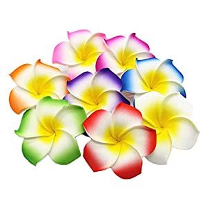 Pursuestar 100Pcs Foam Hawaiian Frangipani Artificial Plumeria Flower Petals Cap Hair Hat Wreath Floral DIY Bridal Wedding Decoration 5cm 82