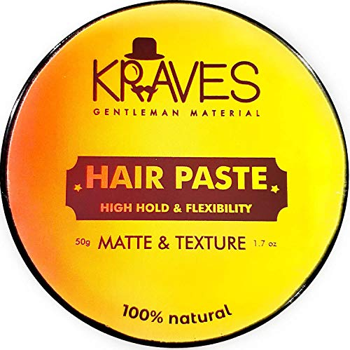 Kraves Hair Paste 100% Natural Hair Styling Paste Hair wax men For All Day Hold With Matte Finish Texture And Volume(Hair Wax 50g) , Made in India