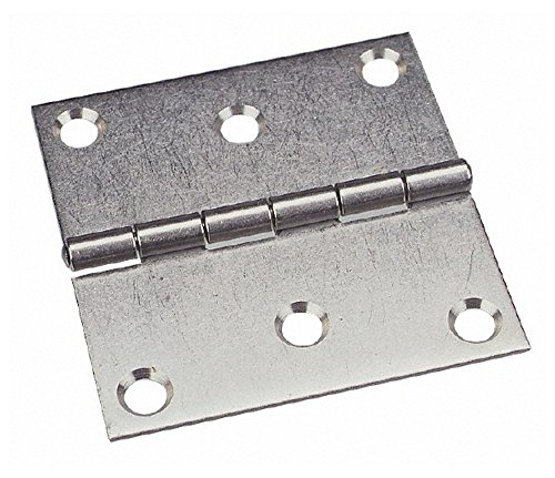 2'' Long x 2'' Wide x 0.078'' Thick, 302/304 Stainless Steel Commercial Hinge, 4 Holes, 0.187'' Pin Diam by Made in USA