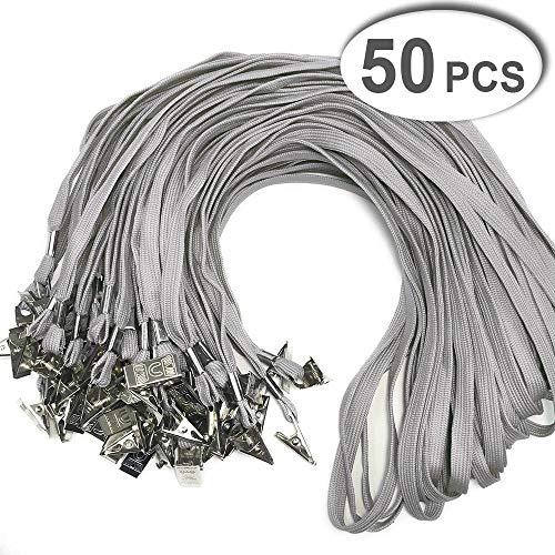 50 Pack Gray Bulk Cotton Lanyard with Bulldog Clip 32-inch Neck Name tag Id Badges lanyards