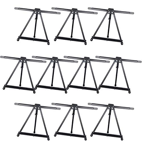 MEEDEN Tabletop Easels for Painting - Ehanced Double Arm Tripod Display Easel - Made of Aluminium, Lightweight, Portable, and Secure - 10 Packs (Black)