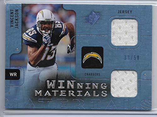2009 Ud Football - 2009 UD SPX Football Vincent Jackson Blue Winning Materials Dual Jersey Card # 33/50