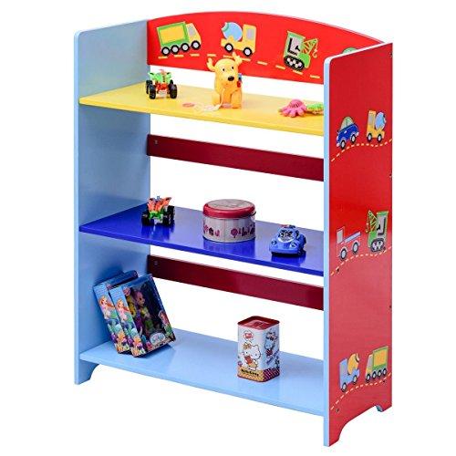 Costzon Kids Bookshelf, 3-Tier Cars Book Rack, Adorable Corner Book Organizer by Costzon