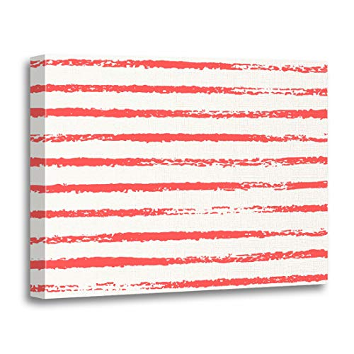Tinmun Painting Canvas Artwork Wooden Frame Nautical Grungy Sketch Red Stripes in Color Rough Pattern 16x20 inches Decorative Home Wall Art ()