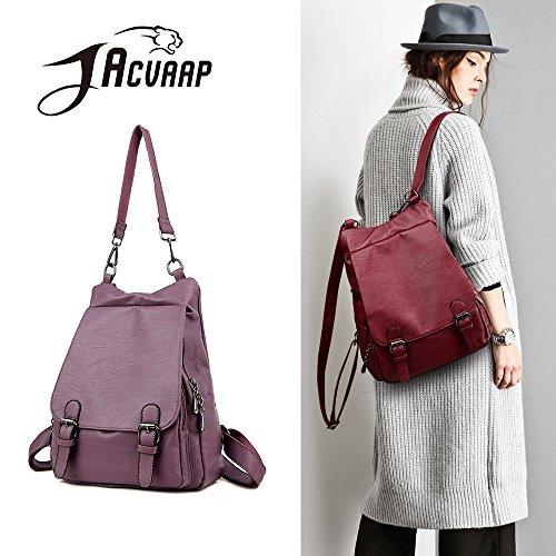(JVP1062-B) bolso de gran capacidad de cuero natural de las mujeres para las niñas de moda bolso de la manera a prueba de agua lindo mochila ligera escuela Púrpura