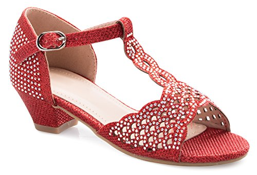 OLIVIA K Girls Glitter and Rhinestone Open Toe T-Strap Kitten Low Heel Sandals (Toddler/Little - Glitter Red Kitten Heels