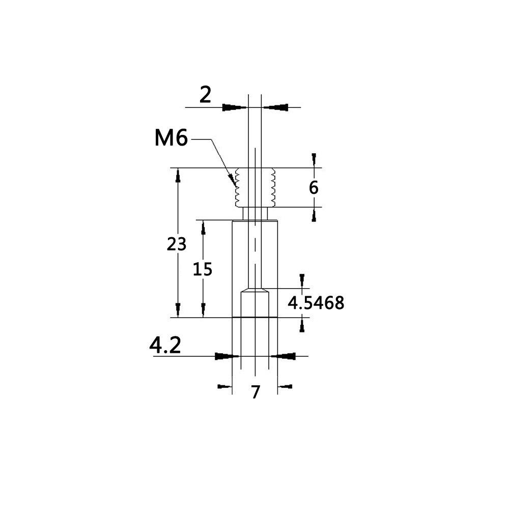 WINSINN Titanium All-Metal Heatbreak Throat for Chimera Kraken Heat Break M6 1.75mm Fit 3D Printer Multi Nozzle RepRap Extruder Hotend Pack of 5Pcs