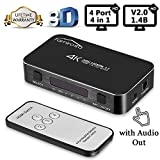 HDMI Switch with Remote, Famirosa 4 Port 4x1 Hdmi Switcher with Audio Out, Mini Hdmi Selector Kvm Switch Box