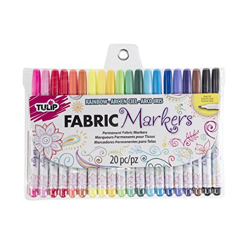 : Tulip 28976Tulip Permanent Nontoxic Fabric Markers 20 Pack - Fine Bullet Tip, Child Safe, Minimal Bleed & Fast Drying - Premium Quality for T-shirts, Clothes, Shoes, Bags & Other Fabric Materials