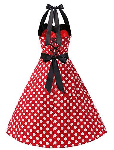 Donne Collo Su Merletti Bowknot Halter Delle Midi Allonly Dall'oscillazione In Cravatta Posteriore Vestito Vita Dot Al Rosso qPnxIp0w