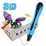 3D Printing Pen, 3D Pen with LED Display, Non-Clogging, Temperature Control 3D Drawing Pens for Kids and Adults Arts Crafts Model DIY Blue