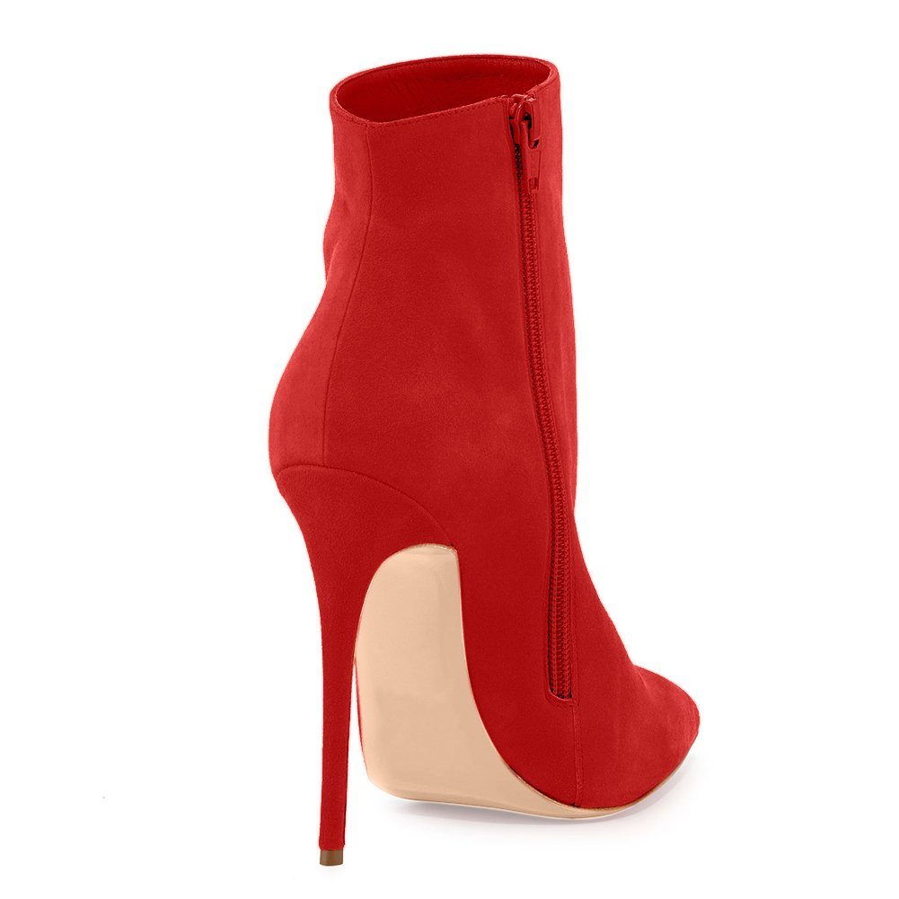 Joogo Pointed Toe Ankle Boots Size Zipper Stiletto High Heels Party Wedding Pumps Dress Shoes for Women B077N77KVZ 7 B(M) US|Red