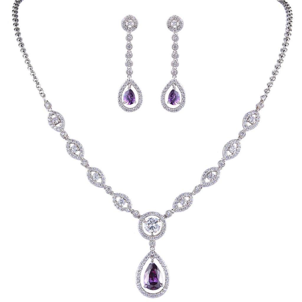 EVER FAITH Crystal CZ Bridal Eye-Shaped Tear Drop Pendant Jewelry Set Purple Silver-Tone