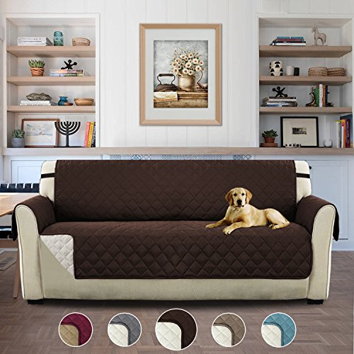 Pet Friendly Plush Reversible Furniture Sofa Protector with Elastic Straps Features to Prevent Stains / Protect from Pets, Spills, Wear and Tear (Sofa Cover: Brown/Beige)-75'' x 110''