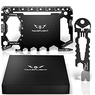 Credit Card Tool Gift Set - Tactical Pocket Tool Gadgets for Men | EDC Keychain - Wallet Multitool Giftset with Pocket Survival Tools - Multi Tool Accessories in Gift Box (Wallet Tools - Black) by TakeFlight (TM)