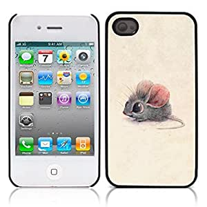 Mouse Cartoon Hard Plastic and Aluminum Back Case for Apple iphone 4 4S