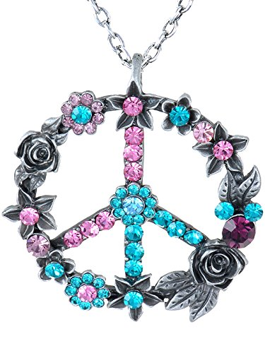 ery Tone Blue Pink Retro Floral Peace Sign Pendant Necklace (Tone Peace Necklace)