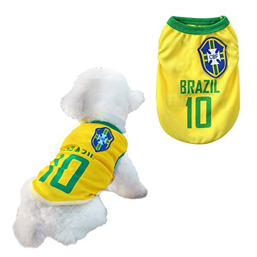 Dog Clothes Football T-shirt Dogs Costume National Soccer World Cup FIFA Jersey for Pet Brazil (Small (S))