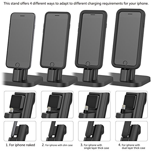 Apple Watch Stand, BEACOO Charging stand Dock Station -- Support Apple Watch NightStand Mode and iPhone 7/7 plus/SE/5s/6S/PLUS with Various Case (Black) by BEACOO (Image #4)