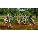 Backyard Swingin' Fun Metal Swing Set, Vinyl-Covered Swing Chains are Height Adjustable