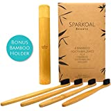Bamboo Toothbrush with Charcoal Infused Extra Soft Bristles Set (4 Pack) and Bonus Bamboo Travel Toothbrush Holder - BPA Free Nylon Bristles - Best Organic, Natural, Biodegradable, Wooden Toothbrushes