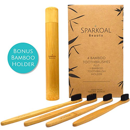 th Charcoal Infused Extra Soft Bristles Set (4 Pack) and Bonus Bamboo Travel Toothbrush Holder - BPA Free Nylon Bristles - Best Organic, Natural, Biodegradable, Wooden Toothbrushes (Natural Toothbrush)