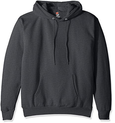 Hanes Men's Pullover Ecosmart Fleece Hooded Sweatshirt, Charcoal Heather, L